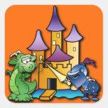El caballero y el dragón pegatinas cuadradas personalizadas