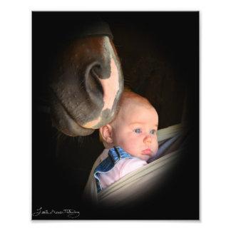 El caballo ama al bebé impresiones fotograficas