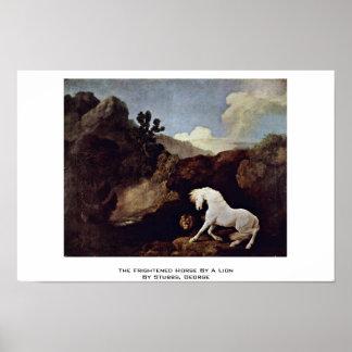 El caballo asustado por un león por Stubbs, George Poster