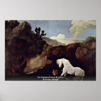 El caballo asustado por un león por Stubbs, George Posters