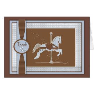 El caballo azul del carrusel de la tela escocesa l tarjeta de felicitación