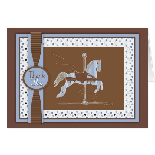 El caballo azul del carrusel le agradece cardar tarjeta de felicitación