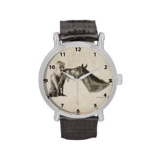 El caballo besa las ilustraciones relojes de mano