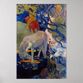 El caballo blanco de Eugène Enrique Paul Gauguin Póster