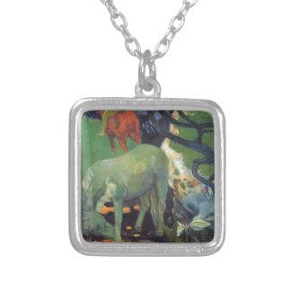 El caballo blanco de Paul Gauguin Colgante Cuadrado