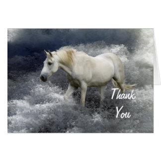 El caballo blanco y el océano de la fantasía le tarjeta de felicitación