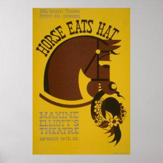 El caballo come el poster del teatro del vintage d