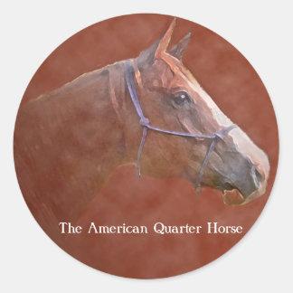El caballo cuarto americano pegatina redonda