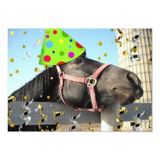 """El caballo de la fiesta de cumpleaños invita invitación 5"""" x 7"""""""