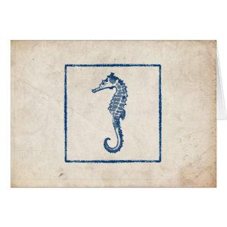 El caballo de mar azul del vintage le agradece obs tarjeton