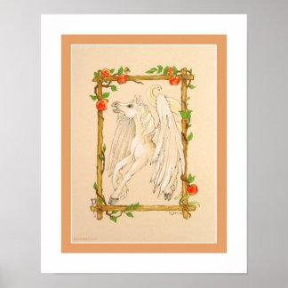 El caballo de Pegaso come manzanas Poster