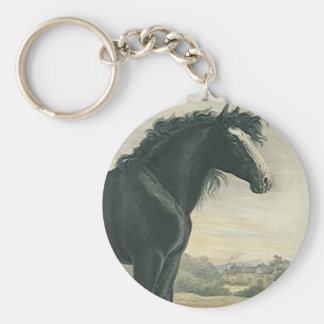 El caballo de proyecto antiguo del negro del llavero redondo tipo chapa