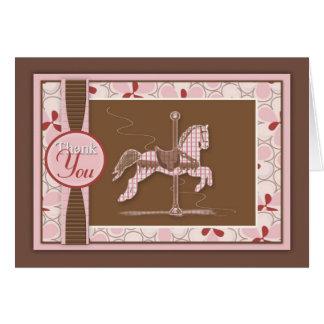 El caballo del carrusel le agradece cardar felicitacion