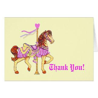 El caballo del carrusel le agradece tarjeta pequeña