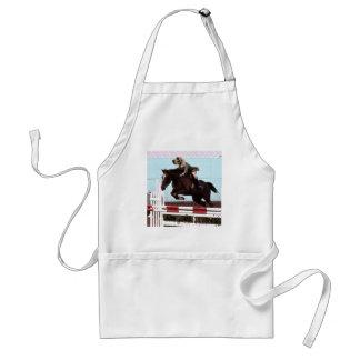 El caballo del perro salta delantales