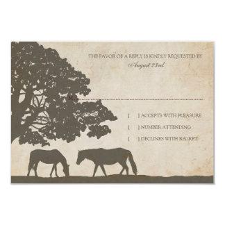 El caballo del vintage de Brown y de la marfil Invitación 8,9 X 12,7 Cm