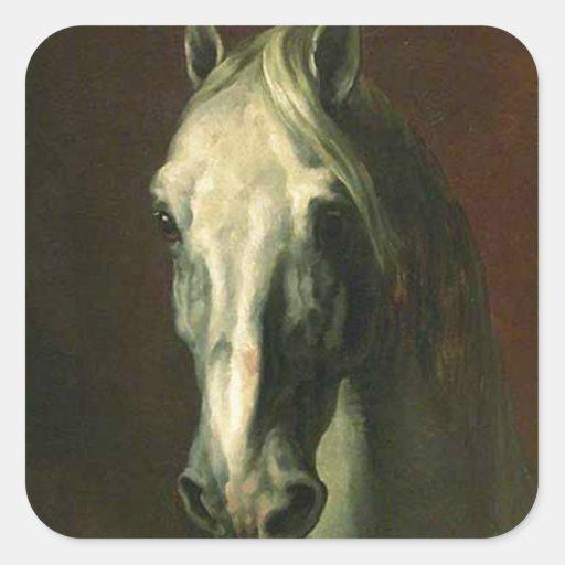 El caballo del vintage pegatina cuadrada
