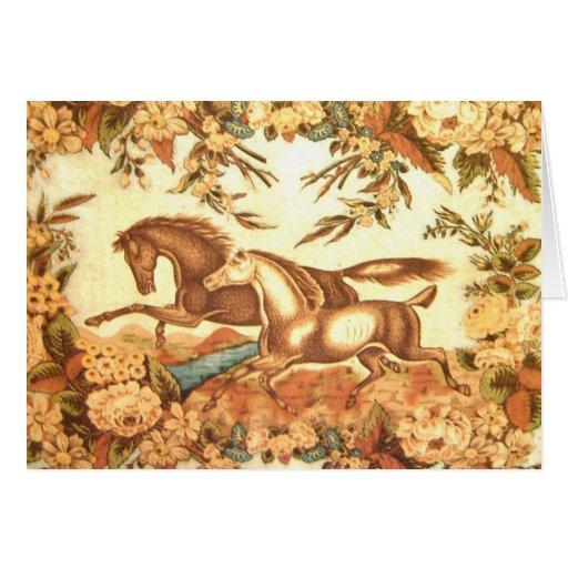 El caballo ecuestre del vintage le agradece cardar tarjeton