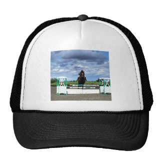 El caballo ecuestre salta gorras