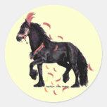 El caballo empluma a los pegatinas pegatina redonda