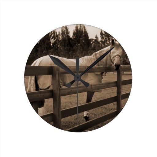 El caballo en mosca viste la sepia que mira detrás reloj de pared