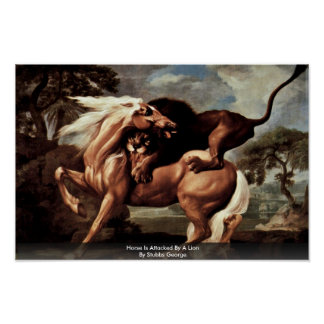 El caballo es atacado por un león de Stubbs George Poster