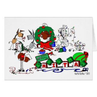 El caballo feliz cultiva la tarjeta de Navidad
