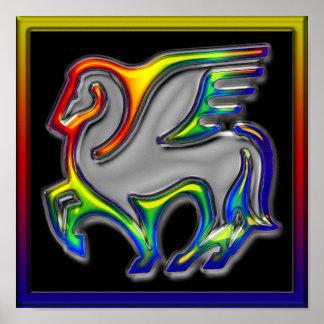 El caballo llamó el arco iris b póster