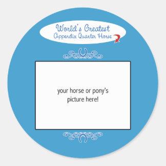 El caballo más grande del cuarto del apéndice de pegatina redonda