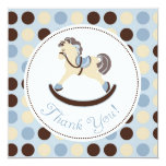 El caballo mecedora azul le agradece invitación 13,3 cm x 13,3cm