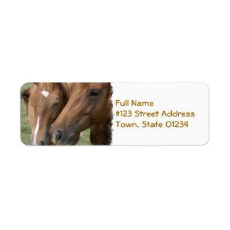 El caballo Nuzzle la etiqueta de correo Etiquetas De Remite