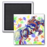 El caballo que salta tema anaranjado blanco azul a imanes de nevera
