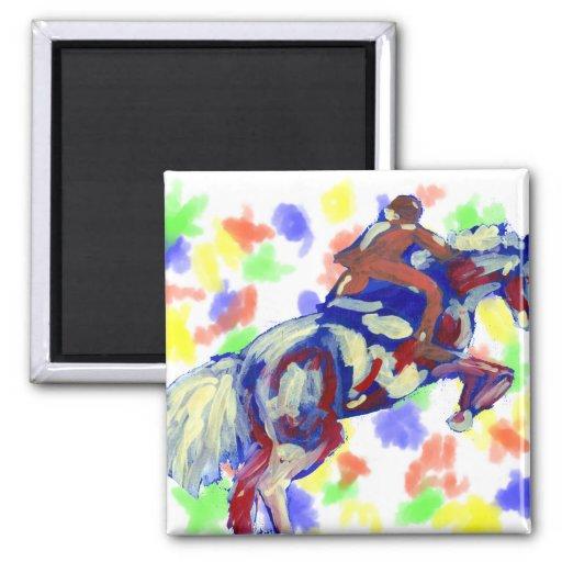 El caballo que salta tema anaranjado blanco azul a imán cuadrado