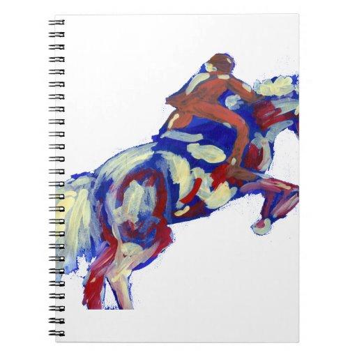El caballo que salta tema anaranjado blanco azul a libretas