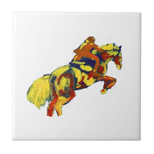 El caballo que salta tema azul amarillo rojo abstr azulejo cuadrado pequeño