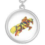 El caballo que salta tema azul amarillo rojo abstr colgantes personalizados