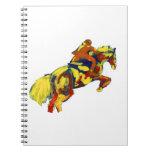 El caballo que salta tema azul amarillo rojo abstr libros de apuntes con espiral