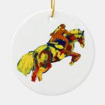 El caballo que salta tema azul amarillo rojo abstr ornamento de reyes magos