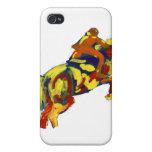 El caballo que salta tema azul amarillo rojo abstr iPhone 4/4S carcasa