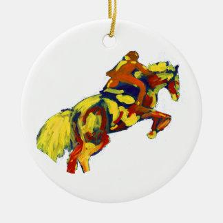 El caballo que salta tema azul amarillo rojo adorno navideño redondo de cerámica