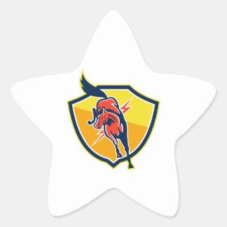El caballo rojo salta el escudo de rayo retro calcomanías forma de estrella personalizadas