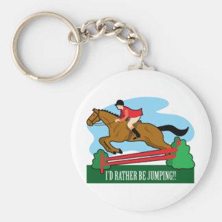 El caballo salta llavero redondo tipo pin