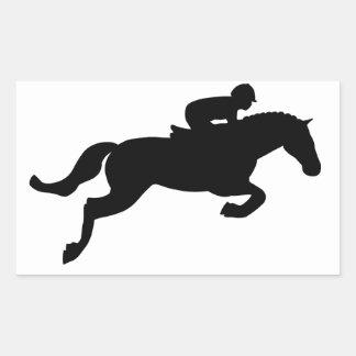 El caballo salta pegatina rectangular