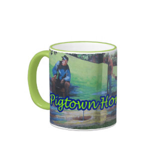 El caballo verde de Pigtown del espacio de Taza De Dos Colores