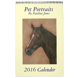 el caballo y el burro del perro acarician el arte calendario de pared