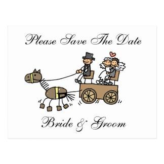 El caballo y el carro del boda ahorran la fecha postales