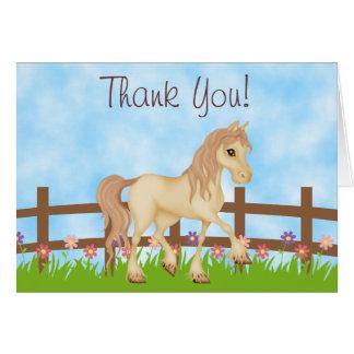 El caballo y las flores bonitos le agradecen tarjeta pequeña