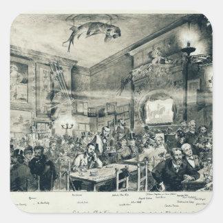 El cabaret du Chat Noir, 1886 Calcomanía Cuadrada Personalizada