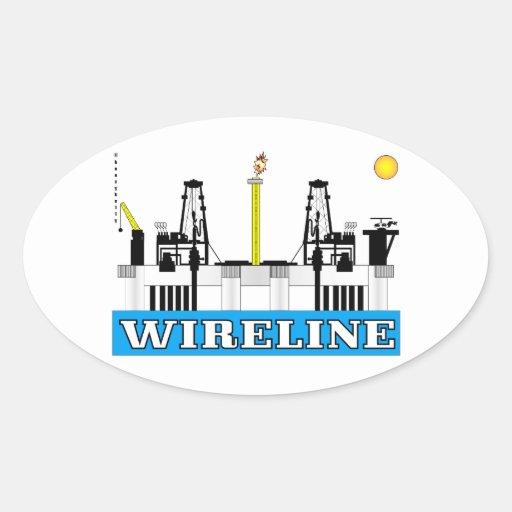 El cable metálico, costero, aceite, plataforma, pegatina ovalada