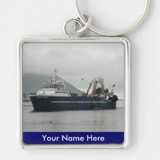 El cabo de Hornos, barco rastreador de fábrica en  Llavero Cuadrado Plateado